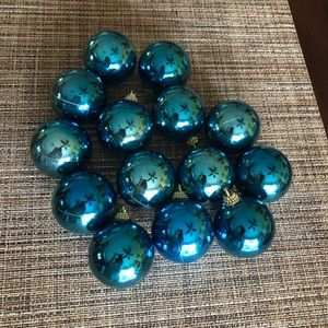 Vintage 14 Plastic Blue Christmas Ornaments